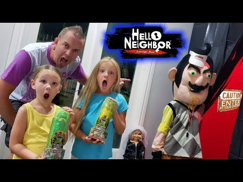 Hello Neighbor Treasure X Toy Scavenger Hunt! We Scare Him off!!!