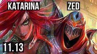 KATARINA vs ZED (MID)   Rank 1 Kata, 2.1M mastery, 7 solo kills, 15/2/4   BR Challenger   v11.13