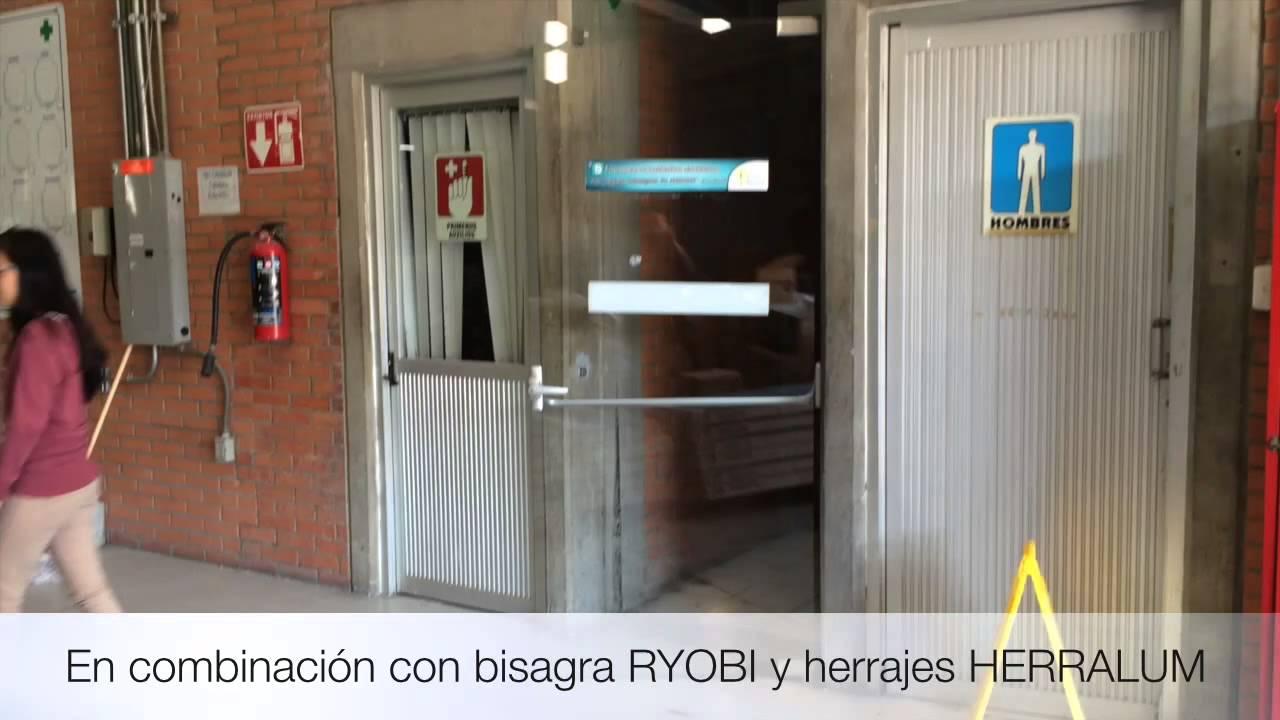 Barra antipanico 1027 herralum para puerta de vidrio for Puertas de vidrio para baneras