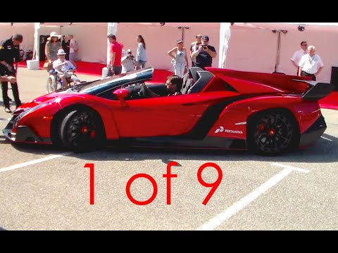 $4.5m Lamborghini Veneno Roadster SOUND! Start Up and Revs