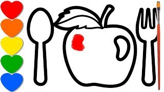 Apple coloring and drawing for kids, coloring page...