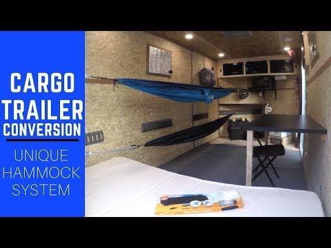 Cargo Trailer Camper Conversion with Hammock Sleeping