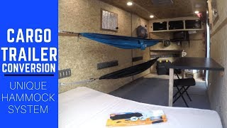 Cargo Trailer Camper Conversion with Hammock Sleeping