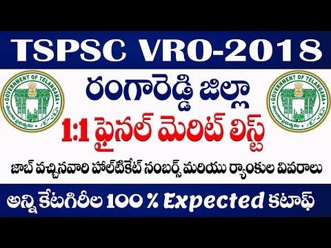 TSPSC VRO Cut off marks    TSPSC VRO Rangareddy Dist final merit list/final selection list