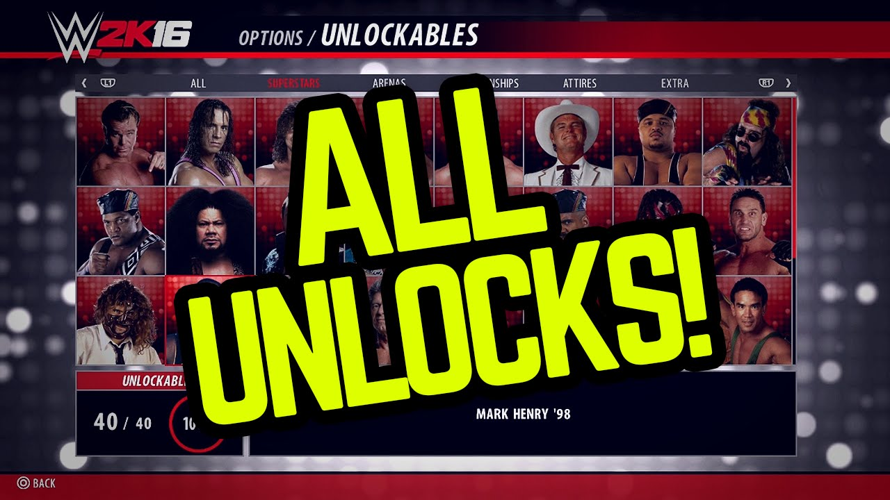 (Every Unlock Item in WWE 2K16 - Superstars, Attires, Arenas, & more!!) -  YouTube