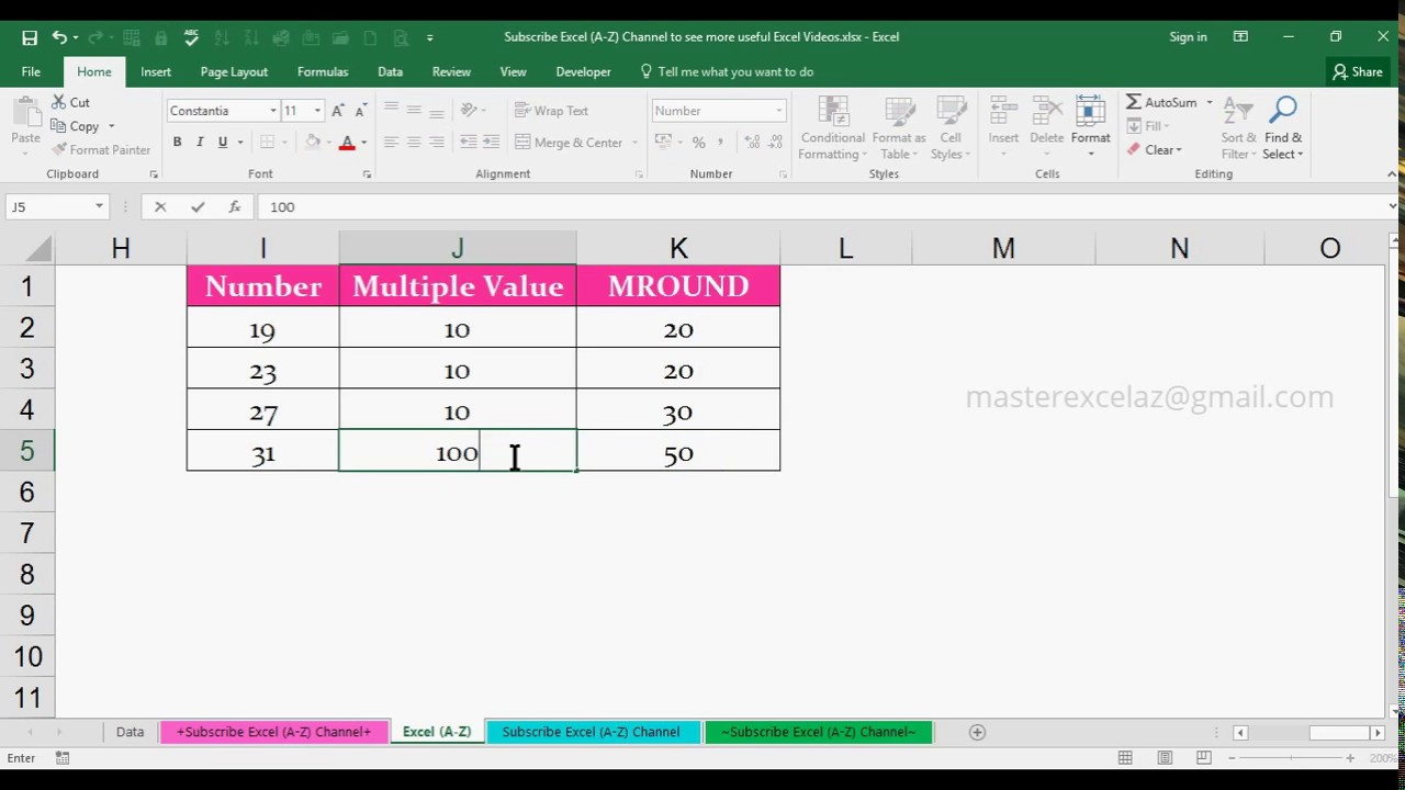 how to make numbers round up in excel