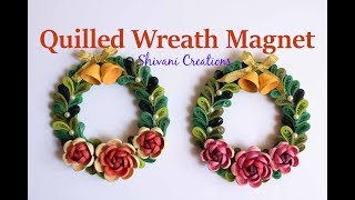 Quilled Wreath Fridge Magnet/ Quilling Christmas Decoration/ Miniature Quilling