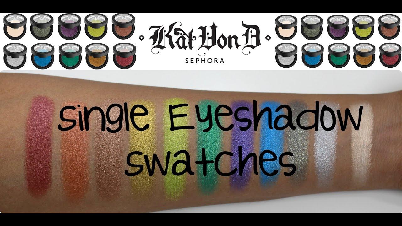 LIVE SWATCHES   Kat Von D Metal Crush Eyeshadows on Dark Skin - YouTube
