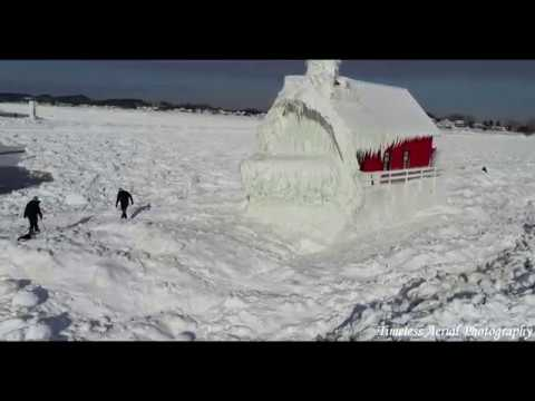 Grand Haven Lighthouse 4K Drone Footage After Polar Vortex Pure Michigan Travel