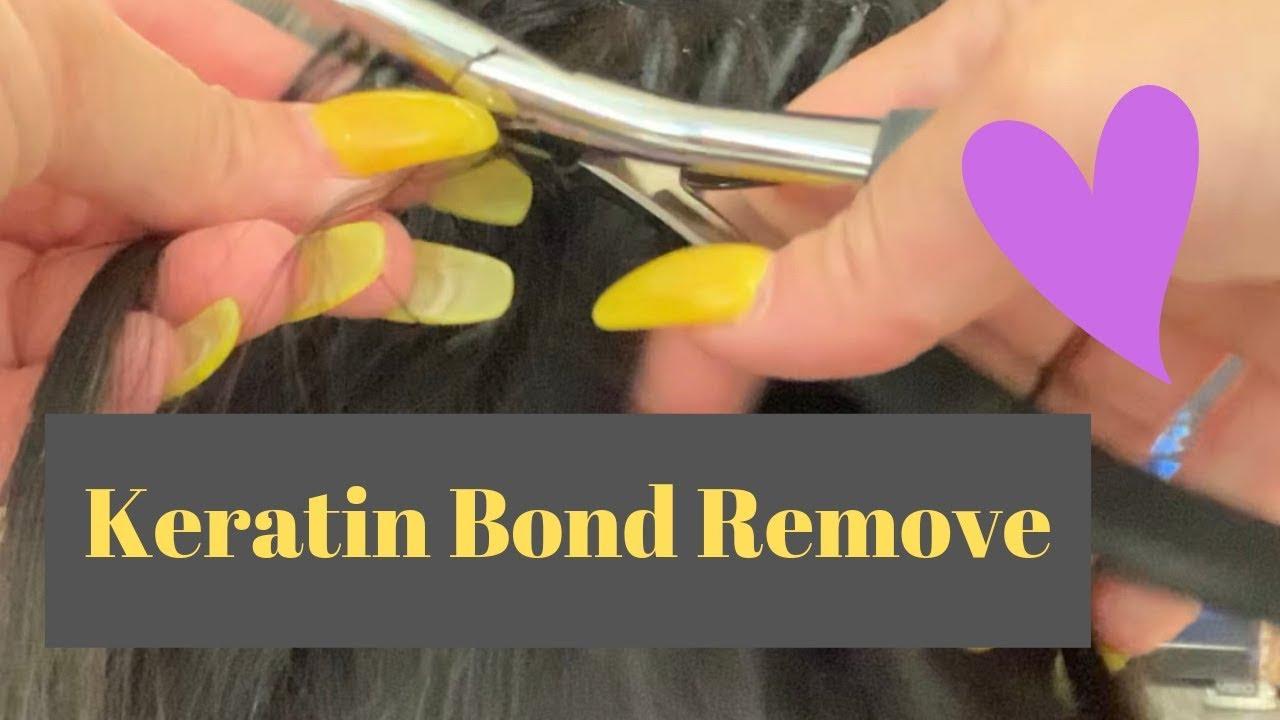 Hair extensions keratin bond removal