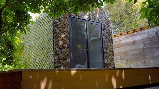 A cabin made with recycled 3D printed materials