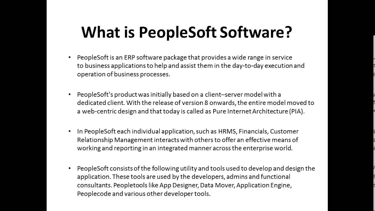 video 1 introduction to peoplesoft peoplesoft online training