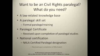 The Role of the Civil Rights Paralegal