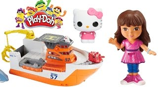 Play Doh Matchbox Rescue Shark Ship, Dora and Friends, Hello Kitty Play Doh Tortoise, Turtle