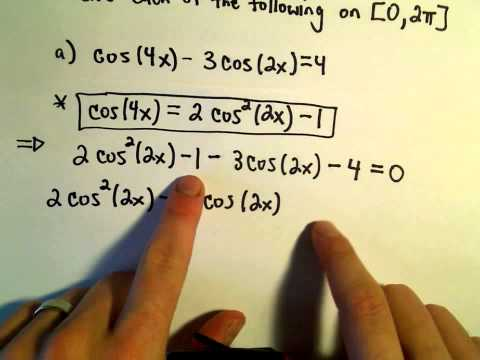 Using Double Angle Identities to Solve Equations, Example 1