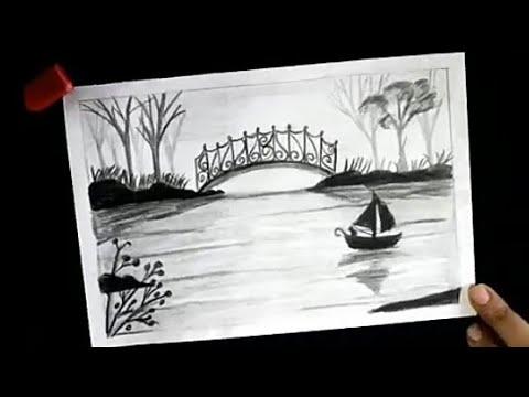 رسم منظر طبيعي سهل بالرصاص للمبتدئيين خطوة بخطوة تعليم الرسم