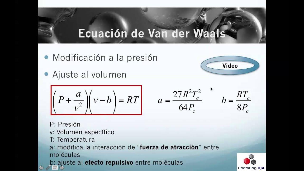 Termo62 Ecuaci N De Van Der Waals Youtube