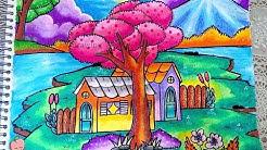 Cara Menggambar Dan Mewarnai Pemandangan Rumah Dan Gunung Gradasi