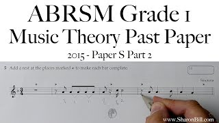 ABRSM Music Theory Grade 1 Past Paper 2015 S Part 2 with Sharon Bill