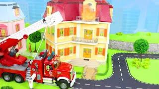 Traktör, Arabalar çizgi film, Ekskavatör ve Yeni - Itfaiyeci oyuncak - Toy Vehicles for Kids