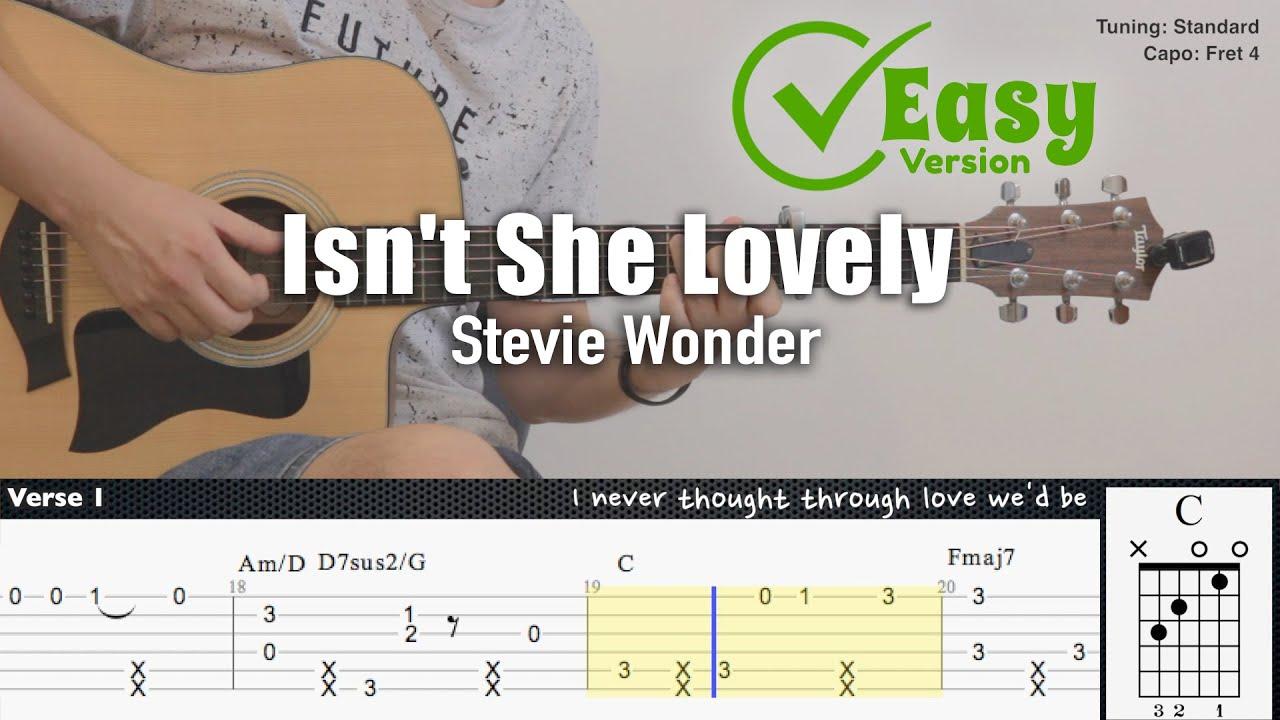 Isn't She Lovely (Easy Version) - Stevie Wonder | Fingerstyle Guitar | TAB + Chords + Lyrics