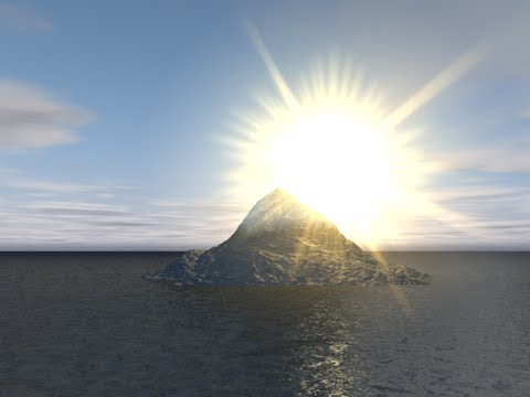 Maxon Cinema 4D C4D Tutorial - Simple Mountain in an Ocean with Sun Flare