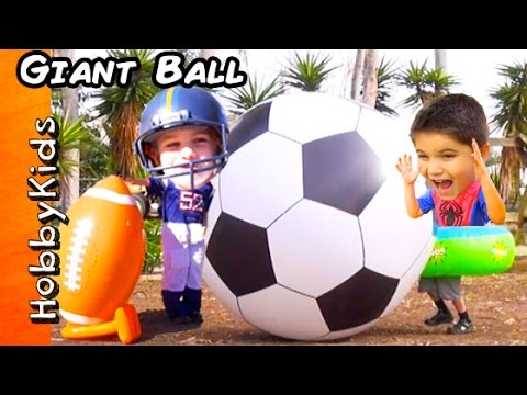 GIANT Football and Soccer Egg Surprises! AirZooka Super Heroes + Family Fun Games HobbyKidsVids