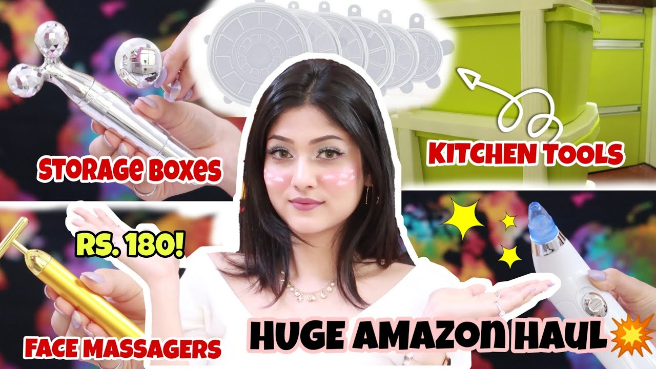 *HUGE* STARTING AT ₹180 AMAZON HAUL! | Kitchen tools, Face Massagers, Storage Boxes | Manasi Mau