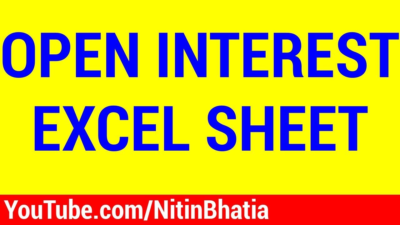 excel sheet for interest calculation