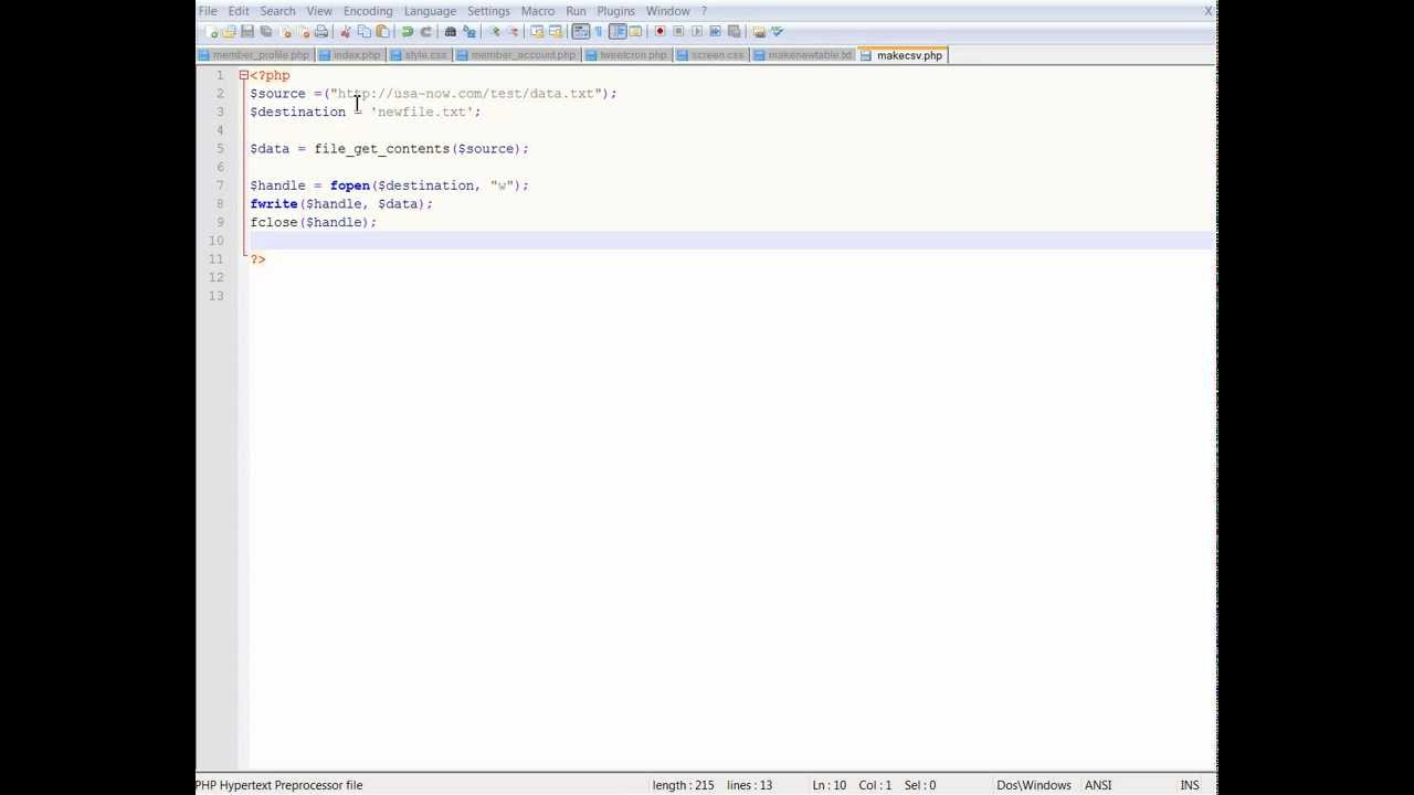 PHP Copy a file from one server to another