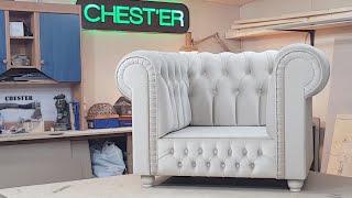 Обтяжка кресла Chesterfield , 2ч.