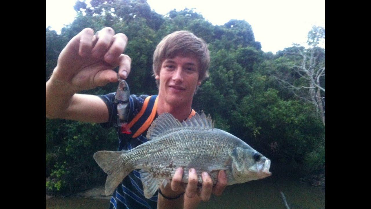 wild sunshine coast australian bass fishing with a homemade lure, Hard Baits