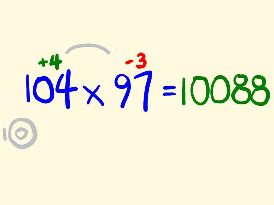 Mental Multiplication Math Trick - Multiply numbers in your head near 100
