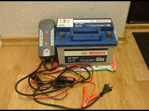Как зарядить акумик BOSCH S4 зарядным BOSCH с3 без кипения.