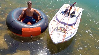 IT WORKS!! (PT2) Modified TOW RIG - TUBE PULLED behind THRASHER Jet Boat  | RC ADVENTURES