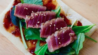 Grilled Tuna Flatbread recipe by SAM THE COOKING GUY