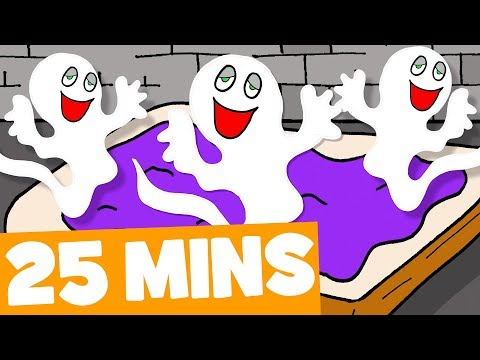 Five Little Spooky Ghosts Song and More  25mins Halloween Songs Collection for Kids