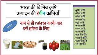Gk Tricks in Hindi - भारत की प्रमुख कृषि क्रांतियां || फसल उत्पादन की रंगीन क्रांतियाँ| SSC, Railway
