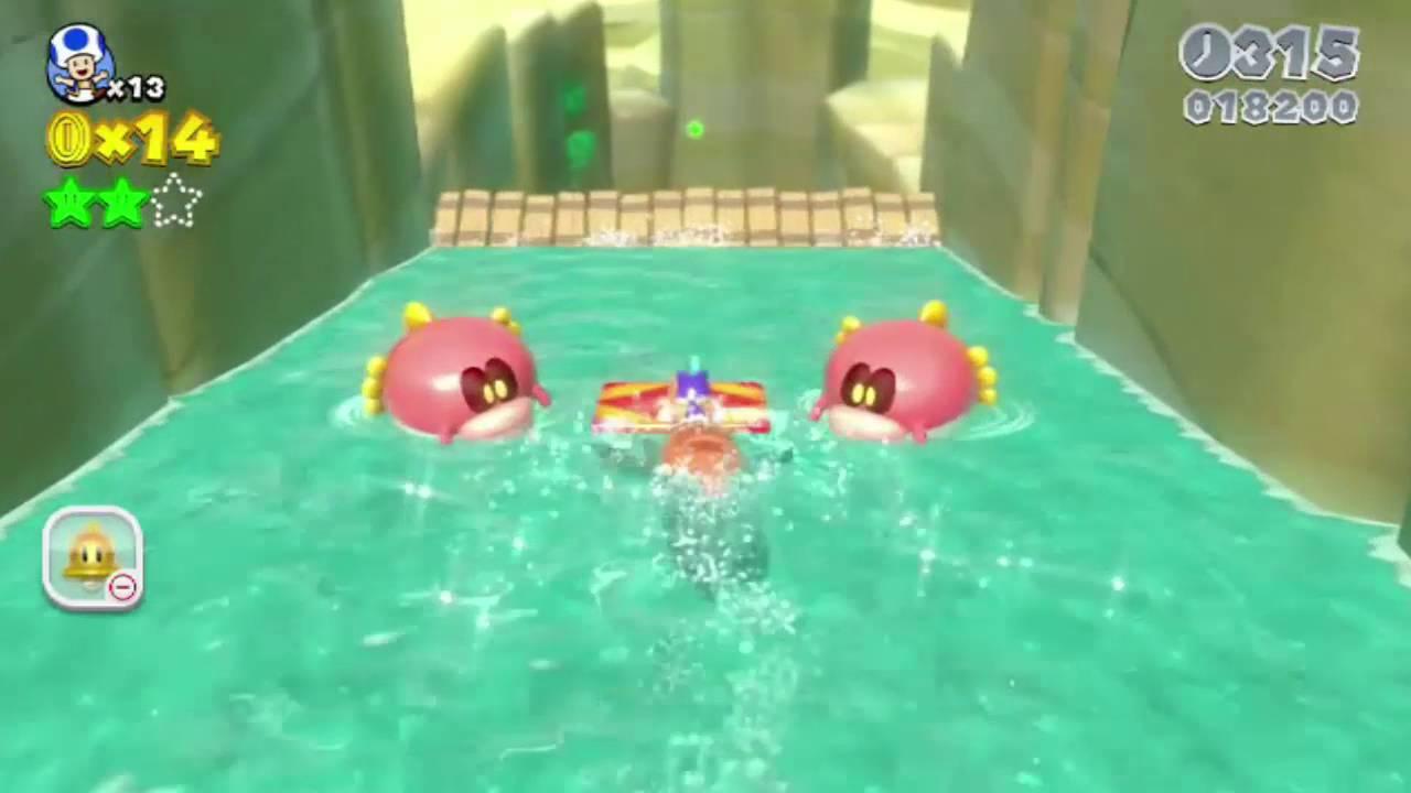 Super Mario 3d World 1 4 Wasserspaß Mit Plessie Youtube