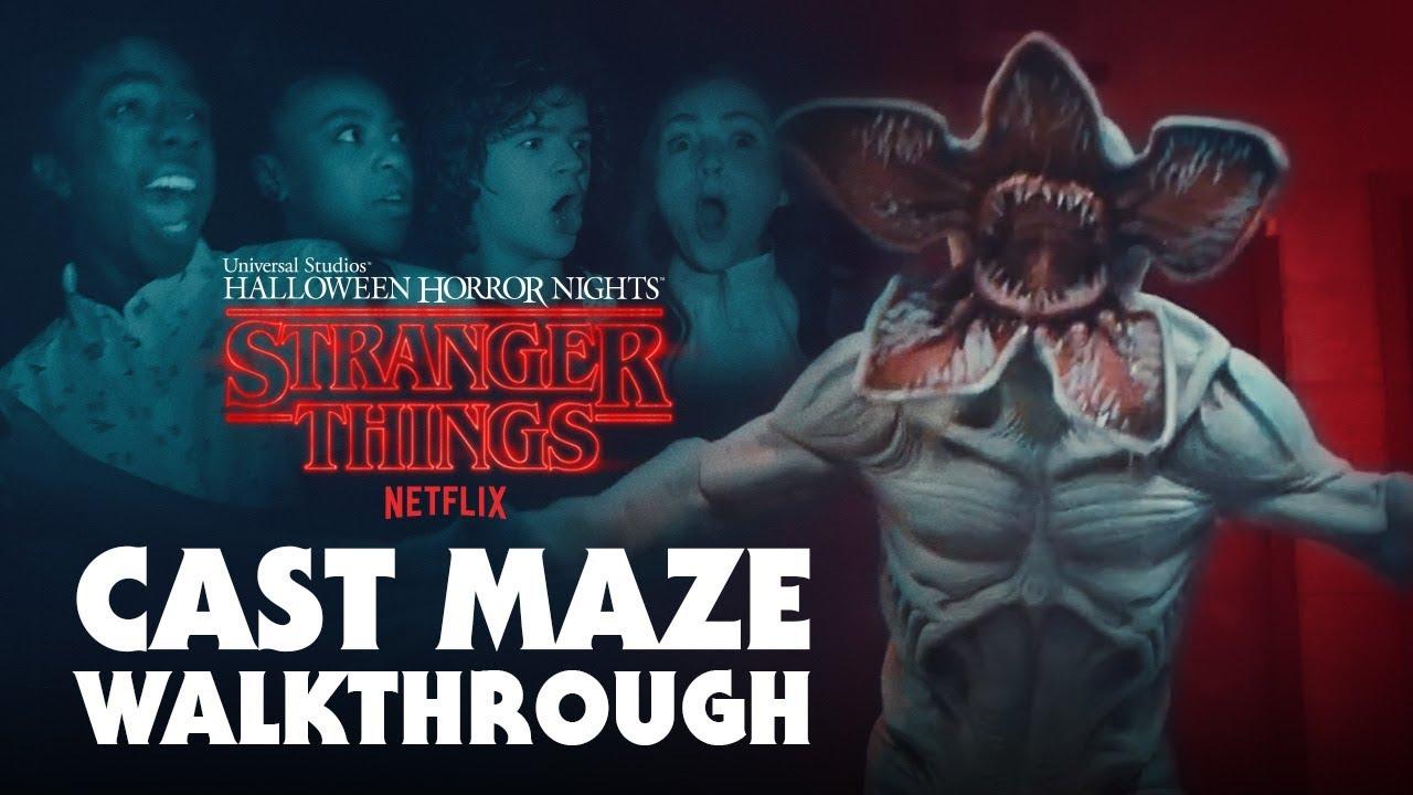 stranger things cast gets scared during maze walkthru - halloween
