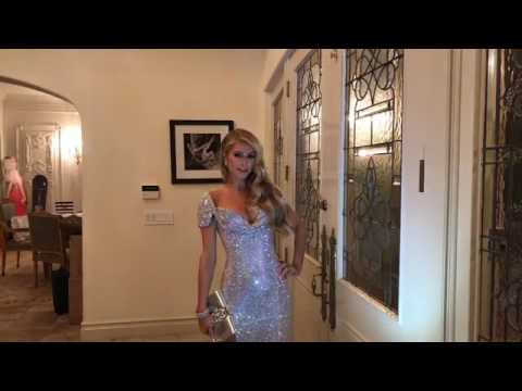 Paris Hilton with new dress in her home