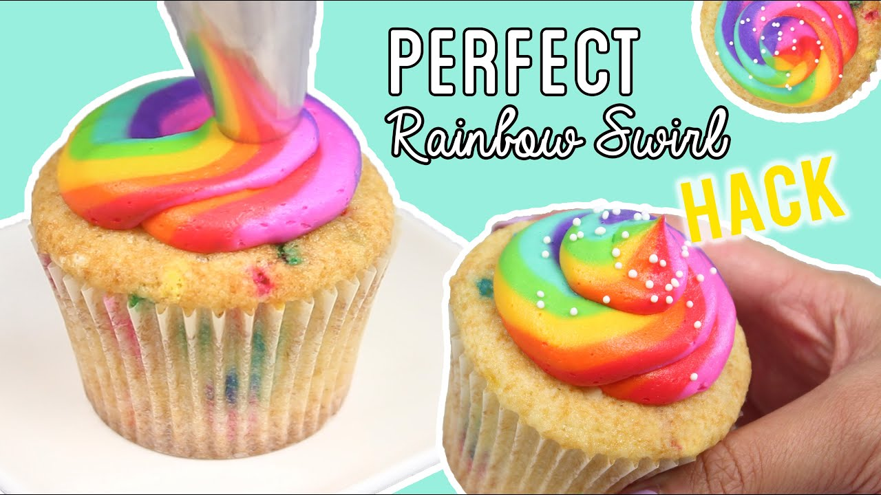How To Pipe Perfect Rainbow Cupcakes With Plastic Wrap Funfetti