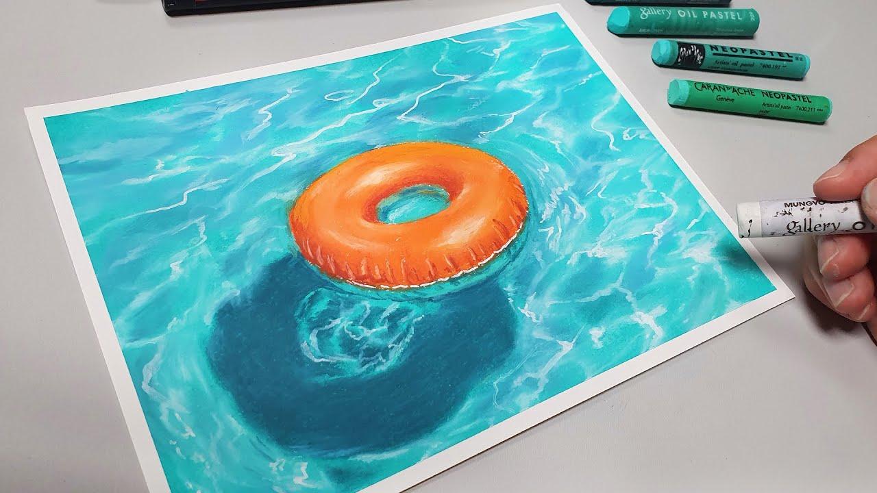 오일파스텔로 시원한 수영장 그리기 / Drawing a Cool Swimming Pool with Oil Pastel