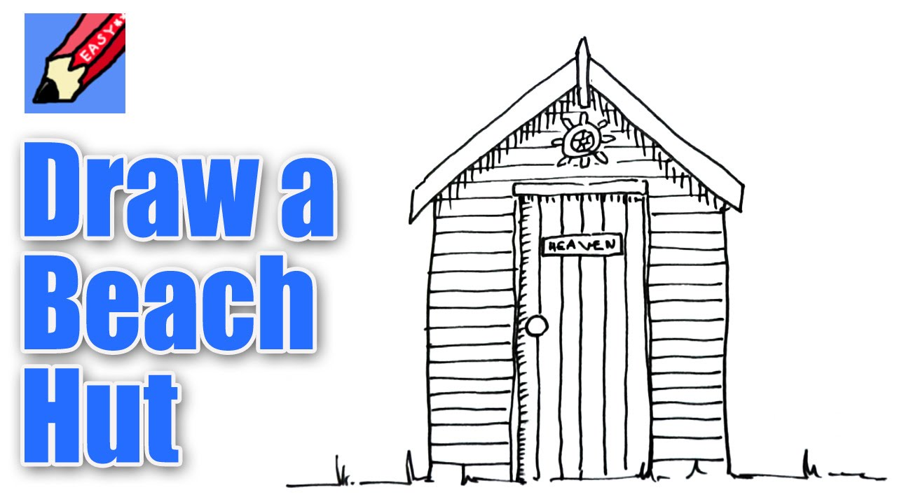 How to draw a Beach Hut Real Easy - YouTube