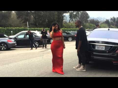 Kim Kardashian and Kanye West Arrive at the Roc Nation Pre-Grammy Party