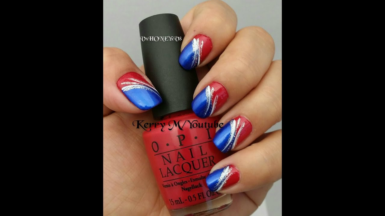 4th of July Nails!! Red, white, and blue! - YouTube