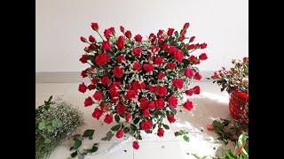 flower arrangement | Cách cắm lẵng hoa hồng trái tim dành tặng tình yêu 20/10 ý nghĩa nhất