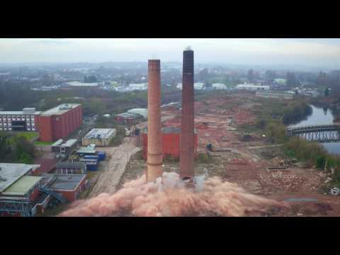 Castleford Chimney Demolition Aerial Video by Drone