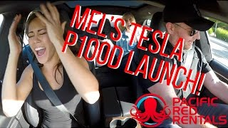 TESLA MODEL S P100D LAUNCH REACTION - MEL'S FIRST LAUNCH!