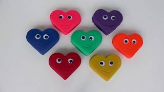Learn colors for kids Play Doh Heart Smiley Face and Cookie Molds